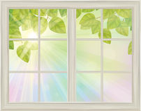 Vector window with spring view green leaves on sunny background. Royalty Free Stock Images