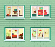 Vector window view of flat design Stock Image
