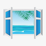 Vector window, view the sea Stock Images