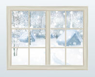 Vector window with  view of snowy background. Stock Photo