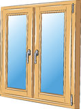 Vector window. In a wooden frame with handles Royalty Free Stock Images