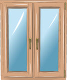 Vector window. In a wooden frame with handles Royalty Free Stock Photo