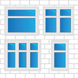 Vector windows, brick wall Stock Images