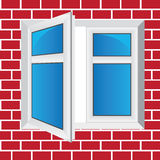 Vector windows, brick wall Royalty Free Stock Photos