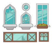 Vector windows collection of various types. Royalty Free Stock Photos