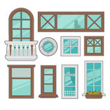 Vector windows collection of various types. Stock Photography