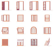 Vector windows and doors set Stock Photography