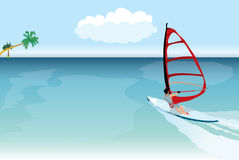 Vector windsurfer Royalty Free Stock Images
