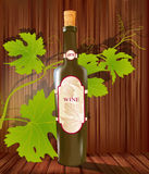Vector wine bottle and grapes on a wood background Royalty Free Stock Images