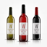 Vector, wine bottles, made in a realistic style. on a white background. Green, Red and black mock up. Royalty Free Stock Image