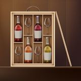 Set of wine. Vector wine bottles and wine glasses inside wooden box on shelf. Front view Stock Images