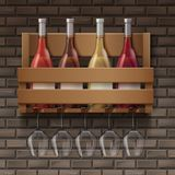 Set of wine. Vector wine bottles and wine glasses on wooden shelf in bar on bricks background Royalty Free Stock Photo