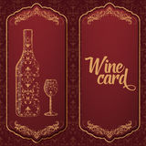 Vector wine card. With bottle and glass on the one Royalty Free Stock Images