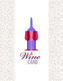 Vector wine card icon, logo, menu cover. Wine list cover for cage, bar, restaurant vector illustration