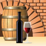 Vector wine cellar with wine bottle and glass Royalty Free Stock Image