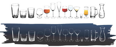 Vector wine and cognac glasses Stock Image