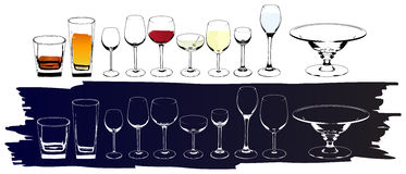 Vector wine and cognac glasses Stock Photo