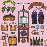 Vector wine color illustrations Winemaking design. Stock Photo