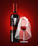 Vector of Wine Glass and Bottle. Valentine day. Stock Photos