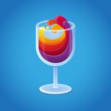 Vector wine glass with bright rainbow drinks Royalty Free Stock Photos