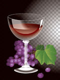 Vector wine glass and bunches of grapes Stock Photos