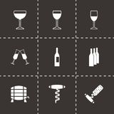 Vector wine icon set Stock Images