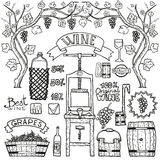 Vector wine infographics with illustrations Winemaking design. Royalty Free Stock Photography