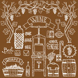 Vector wine infographics illustrations Winemaking design. Royalty Free Stock Photos