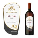 Vector wine label. And bottle of wine mockup with this label Royalty Free Stock Photo