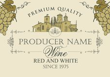 Wine label with landscape of village and grapes. Vector wine label with calligraphic inscription, hand-drawn landscape of the European village and bunches of Stock Images