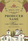 Wine label with landscape of village and grapes. Vector wine label with calligraphic inscription, hand-drawn landscape of the European village and bunches of Royalty Free Stock Photo