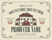 Label for wine with cartoon stylized old house. Vector wine label with cartoon stylized old house and place for text in a frame with curls in retro style stock illustration