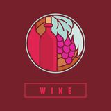 VEctor wine label in flat simple style Royalty Free Stock Photography