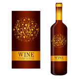 Vector wine label with floral ornaments Stock Photo