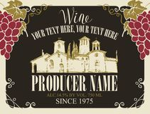 Wine label with landscape of village and grapes. Vector wine label with handwritten inscription, hand-drawn landscape of the European village and bunches of Stock Photos