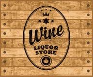 Vector wine label on wooden background vector illustration