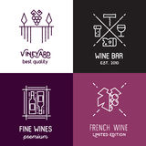 Vector wine line icons and logos. Stock Photos