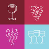 Vector wine line icons and logos Stock Photography