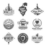 Vector wine logo, icons and design elements Stock Photo