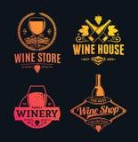 Vector wine logo, icons and design elements. Set of vector yellow-pink logo, icons and design elements for wine shop, restaurant menu, labels, winery branding stock illustration
