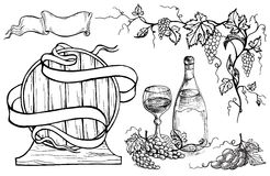 Vector wine set stock illustration