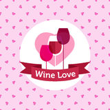 Vector wine shop or bar logo design with hearts Royalty Free Stock Image