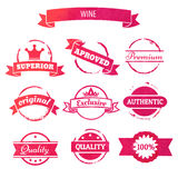 Vector wine stain circles and retro stamps and badges  i Royalty Free Stock Photography