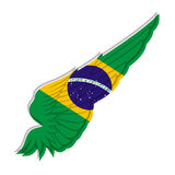 Vector wing with Brazil flag on white background, travel illustr Royalty Free Stock Photos