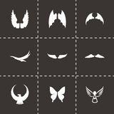 Vector wing icon set. On black background vector illustration