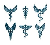Vector winged Caduceus illustrations collection. Pharmacology and healthcare idea emblems stock illustration