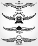Vector winged crowns royal logo templates set in black and white Royalty Free Stock Photos