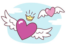 Vector winged hearts cartoon style. Stock Photography
