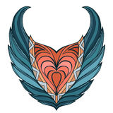 Vector wings heart. Doodle color element. Royalty Free Stock Photography