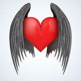 Vector wings and heart illustration Stock Images
